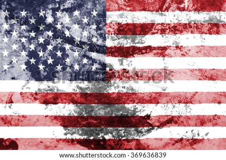 The concept of national flag on old rusty grunge background: USA