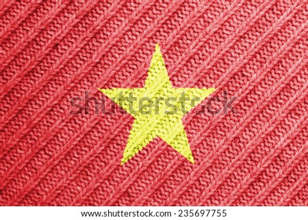 The concept of national flag on wool background: Vietnam