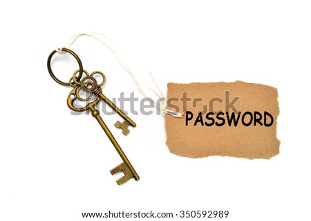 The concept of 'password' is translated by key and silver key chain - stock photo