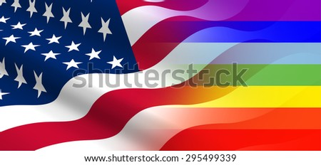 The concept of positive attitude of  the United States for LGBT community. - stock photo