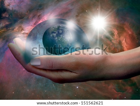 "The concept of protecting the world. ""Elements of this image furnished by NASA ""  - stock photo"