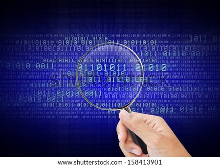 The concept of search of the information in computer digital - stock photo