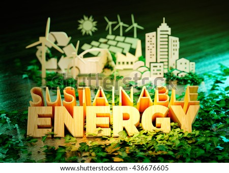 The concept of sustainable energy - wooden text with additional ecology icons on fresh green background. 3D rendering. - stock photo