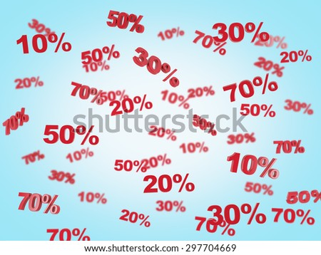 The concept of the discount and sale. collection of discount numbers 10% 20% 30% 50% 70%. Blue background. - stock photo