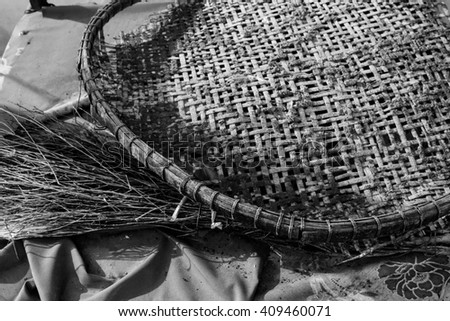 The concept of the old basket no use. art - stock photo