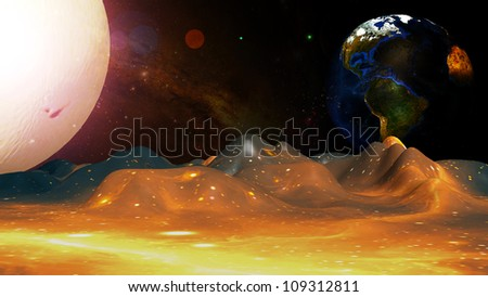 The concept of the planets to the background. - stock photo