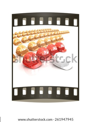 The concept of the production structure: white hard hat - Engineer, red hard hat - masters, yellow hard hat - working. On a white background. The film strip - stock photo