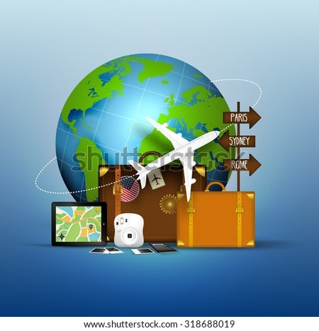 The concept of Travel of Famous World  - stock photo