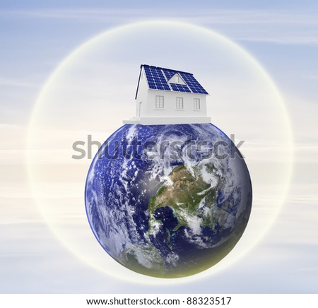 The concept of use for the household purposes of energy of the sun - stock photo
