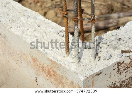 The concrete pile at the construction site - stock photo