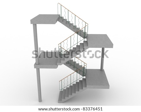 The concrete staircase with openings on a white background 3 - stock photo