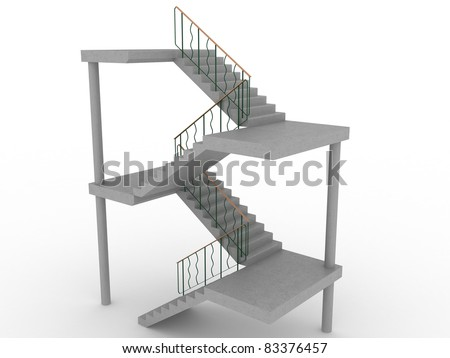 The concrete staircase with openings on a white background 1 - stock photo