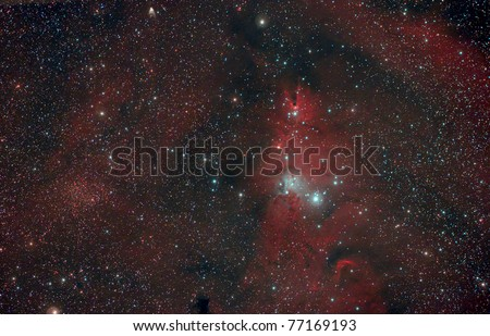 The Cone Nebula is an H II region in the constellation of Monoceros. It was discovered by William Herschel on December 26, 1785, at which time he designated it H V.27.