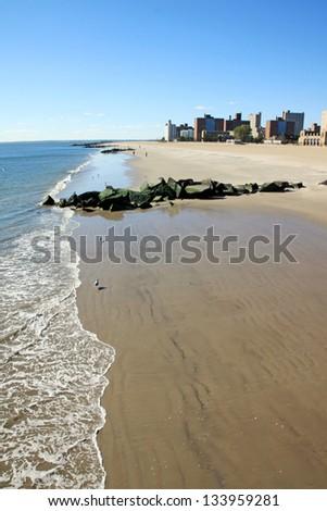 The Coney Island coast in winter time - stock photo