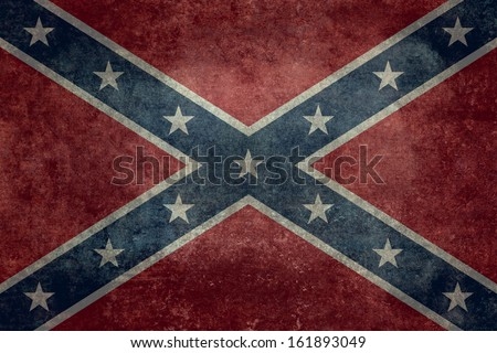The Confederate flag, Distressed Vintage Version - stock photo