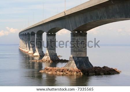 The Confederation Bridge linking New Brunswick and Prince Edward Island. Canada. - stock photo