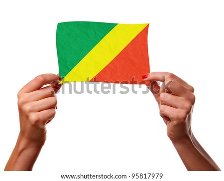 The Congo flag in the woman hands. closeup