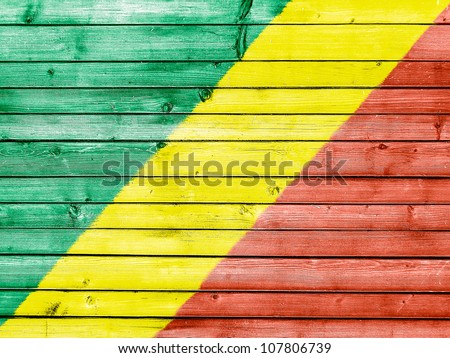 The Congo flag painted on wooden fence - stock photo
