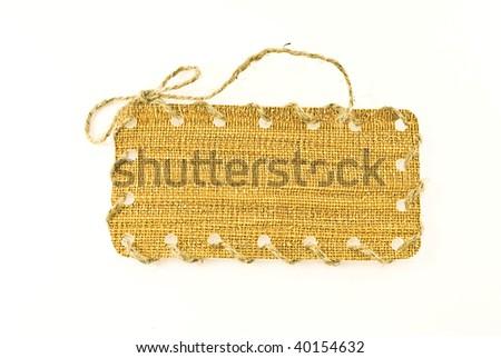 the congratulatory label from cloth - stock photo