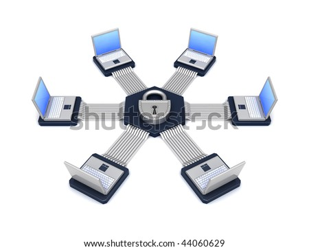 The connected computers in a network - stock photo