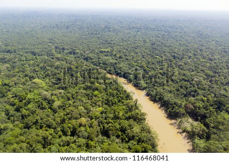 The Cononaco river in the Ecuadorian Amazon from the air - stock photo