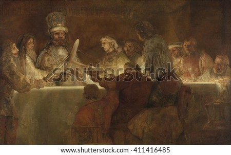 The Conspiracy of the Batavians under Claudius Civilis, by Rembrandt, 1661-62, Dutch oil painting. The Batavi were an ancient Germanic tribe that lived around the modern Dutch Rhine delta. They were