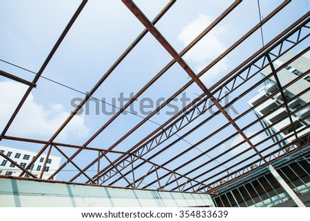 The construction of a building. - stock photo