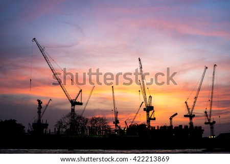 The construction of a new mall in town. - stock photo