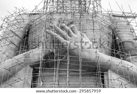 The construction of Buddha statue for monochrome