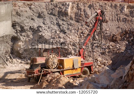 the construction of building with bulldozer foundation