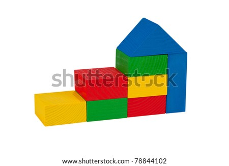 The construction of children's wooden blocks, isolated on a white background.