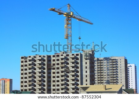 The construction of prefabricated houses - stock photo