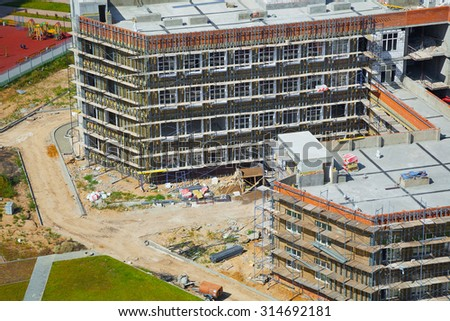 The construction of the new building - stock photo
