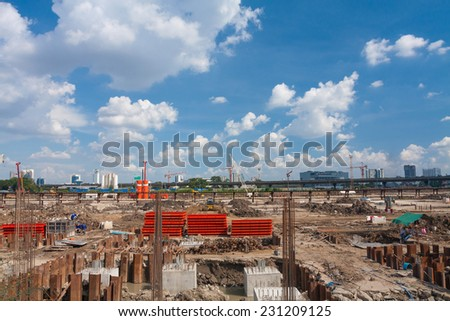 The construction site. Construction of the new building. Construction cranes. - stock photo