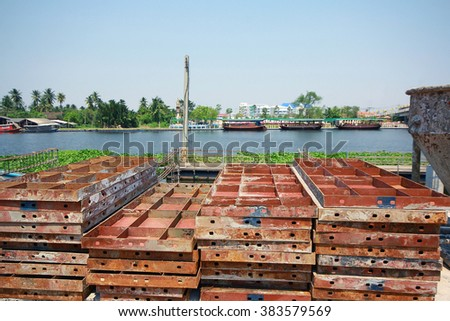 The construction site for a metal frame and reinforced concrete - stock photo