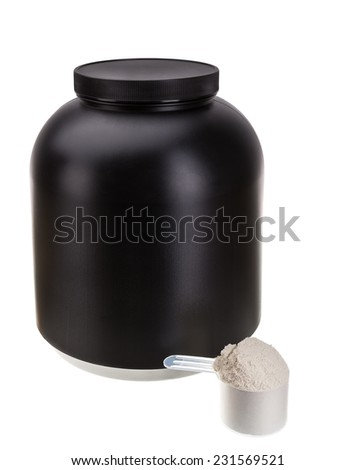 The container for the protein. For fitness and bodybuilding. - stock photo