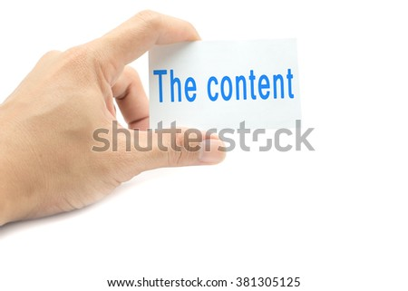 The content message on the card hand in hand on white background
