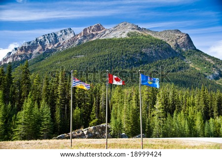The Continental Divide at the border of Alberta and British Columbia in Canada - stock photo