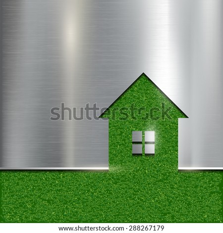The contour of the house on a grass background. Stock image. - stock photo