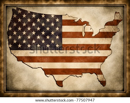The contour of the U.S.A. flag wrapped in the old background - stock photo