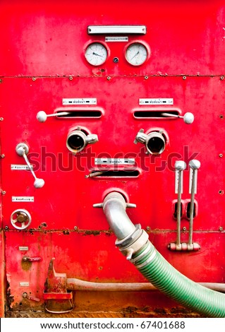 The Control equipment of fire truck - stock photo