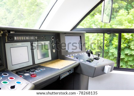 The control panel of the modern locomotive, the view from the Inside. - stock photo