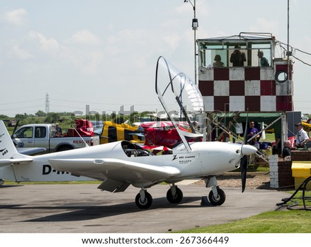 the control tower with light aircraft at Breighton airfield,yorkshire, UK.taken 01/06/2014 - stock photo