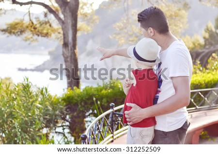 The conversation between the son of his father, the emotional relations in the family.  - stock photo