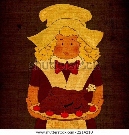 the cook bring the turkey for thanksgiving dinner - stock photo