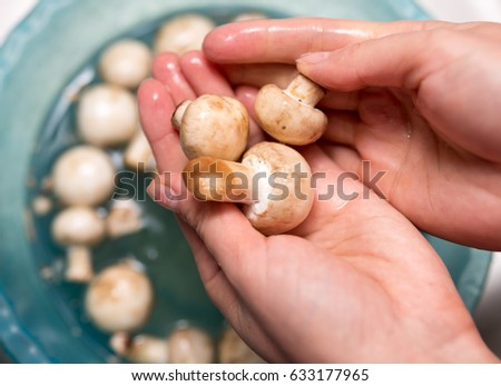 The cook washes the mushrooms in the water