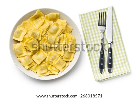 the cooked ravioli on a plate - stock photo