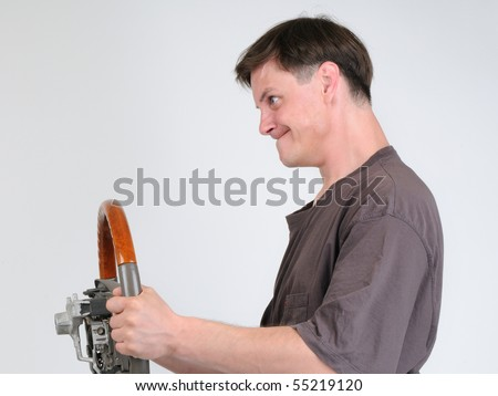 The cool young man with a wheel - stock photo