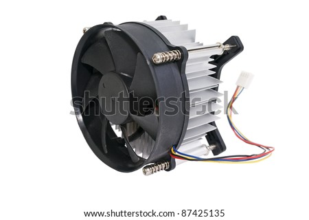 The cooling fan with heatsink computer processor, close-up, white background. - stock photo