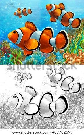 The coral reef - small colorful coral fishes - with coloring page - illustration for the children - stock photo